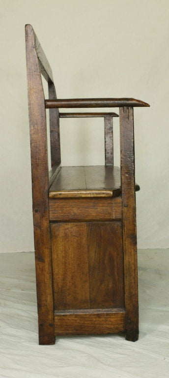 Small Narrow Antique French Chestnut Seat At 1stdibs
