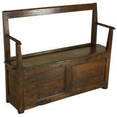 Small Narrow Antique French Chestnut Seat
