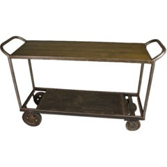 French Vintage Industrial Steel and Wood Trolley