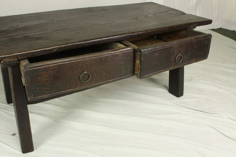 Antique Rustic Dark Oak French Coffee Table At 1stdibs