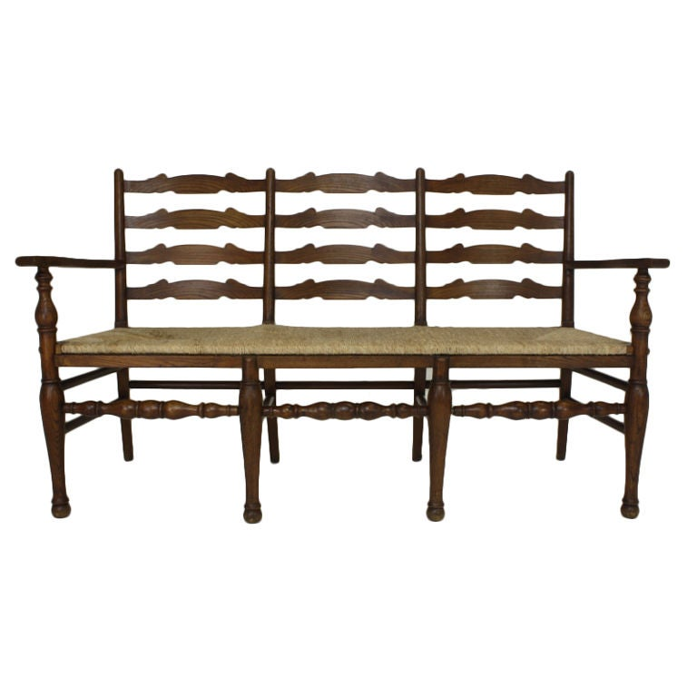 Antique French Elm Bench Rush Seat At 1stdibs