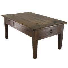 Antique French  Cherry and Oak Coffee Table, Two Drawers
