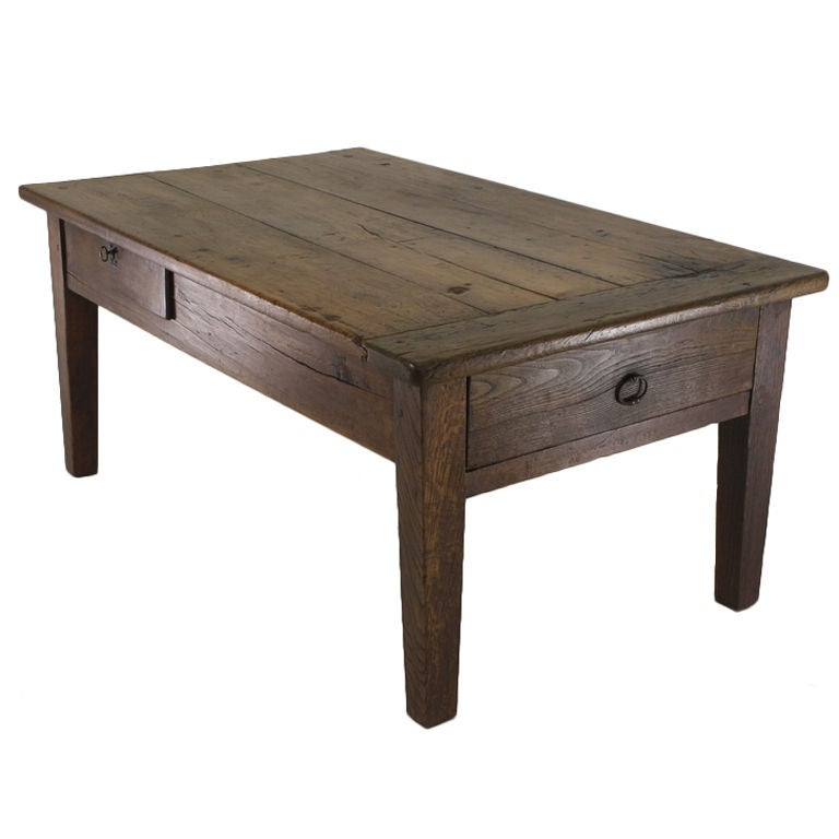 Antique Coffee Tables With Drawers: Antique French Cherry And Oak Coffee Table, Two Drawers At