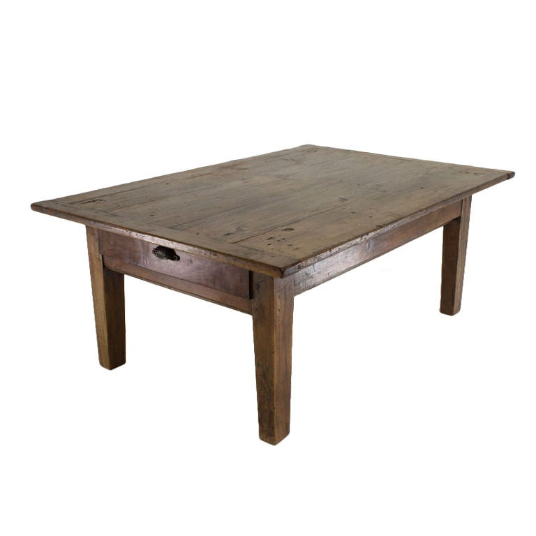 Antique French Pine Coffee Table 2 Drawers Stylized Handle For