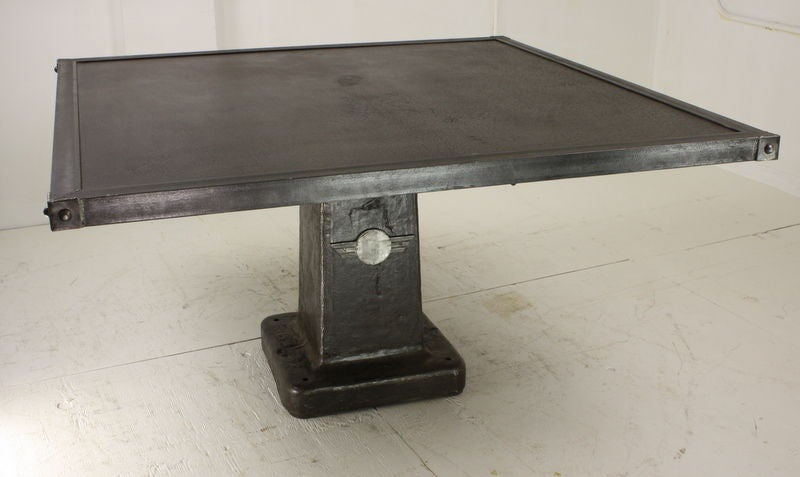 Large square french steel industrial dining table 56 for Square industrial dining table