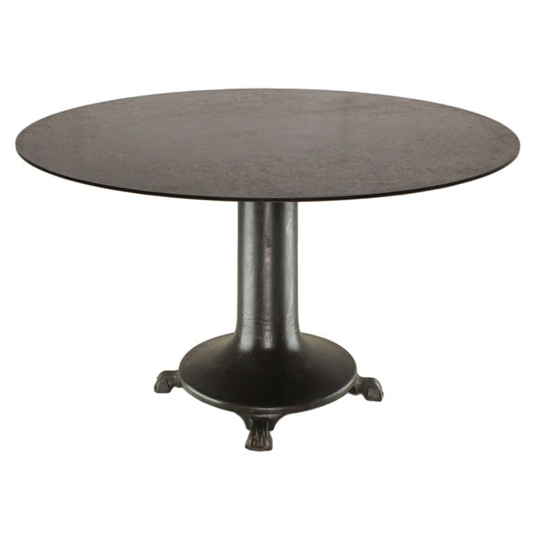 Industrial french steel round dining table 50 diameter at 1stdibs - Inch diameter dining table ...