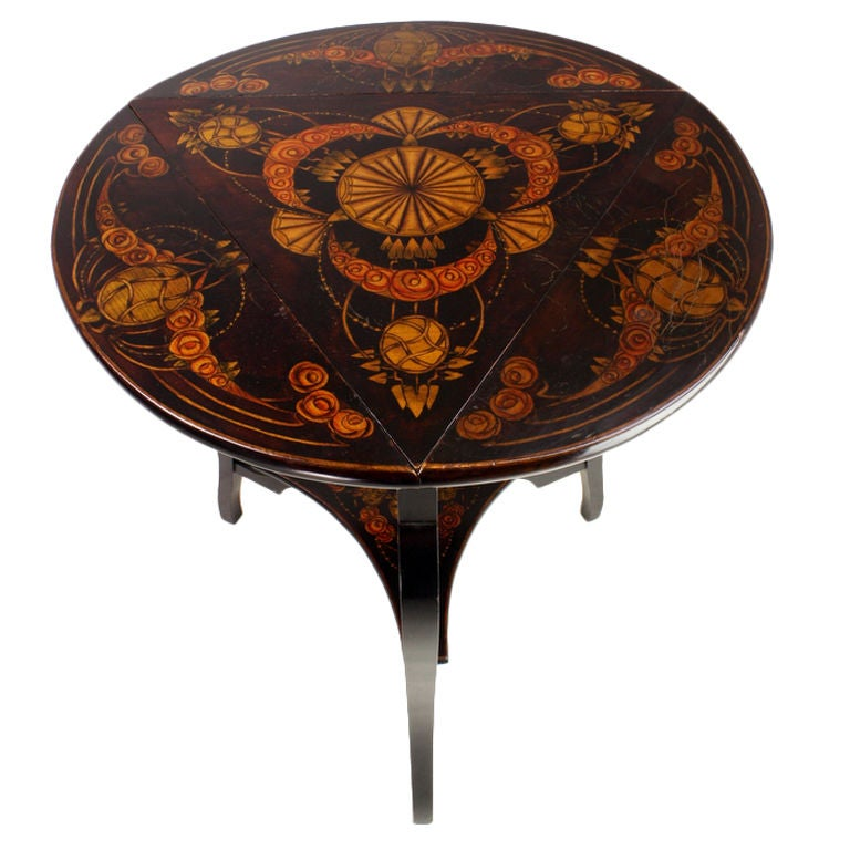 Decorative Antique English Round Table with Three Drop ...