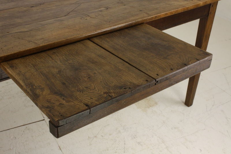 Antique Beechwood French Country Farm Table, Bread Slide In Good Condition  For Sale In Port