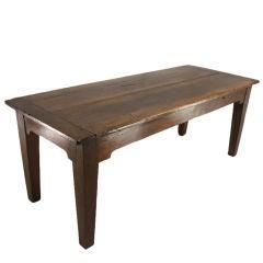Chunky-Legged French Antique Walnut Farmhouse Table