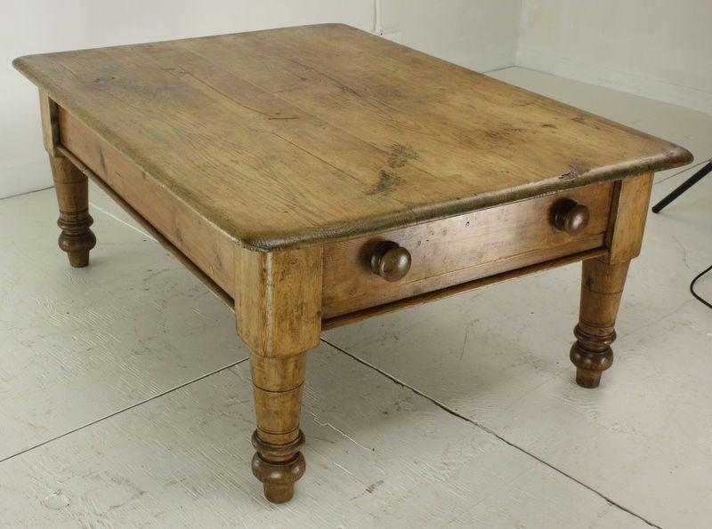 Large Antique English Pine Coffee Table Big End Drawer At 1stdibs