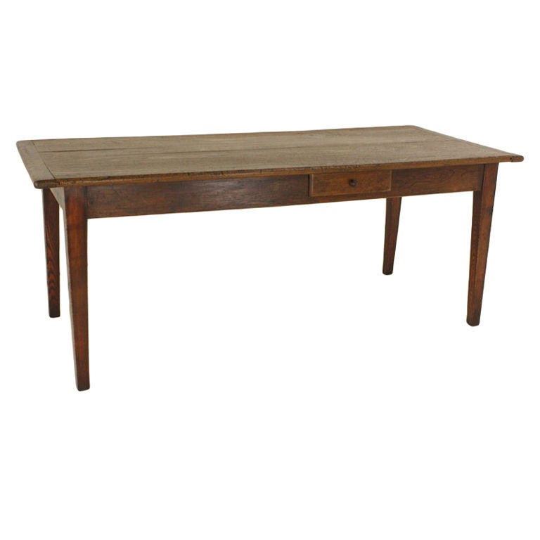 Antique French Elm Farmhouse Table One Drawer At 1stdibs