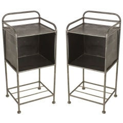 PAIR of Two -Tier Vintage French Industrial Steel End Tables