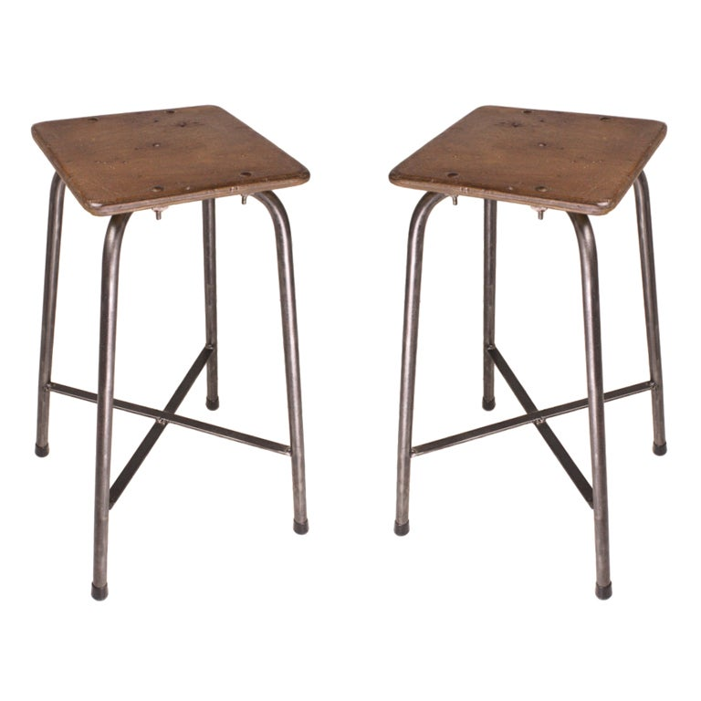 Pair Of Vintage French Industrial Steel And Wood Stools At