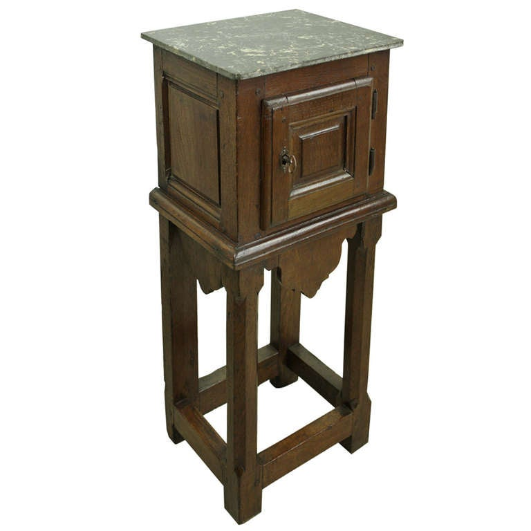 Antique French Marble-Top Side Cabinet