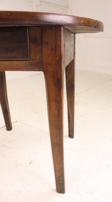 Round Chunky Cherry French Occasional Table One Drawer At
