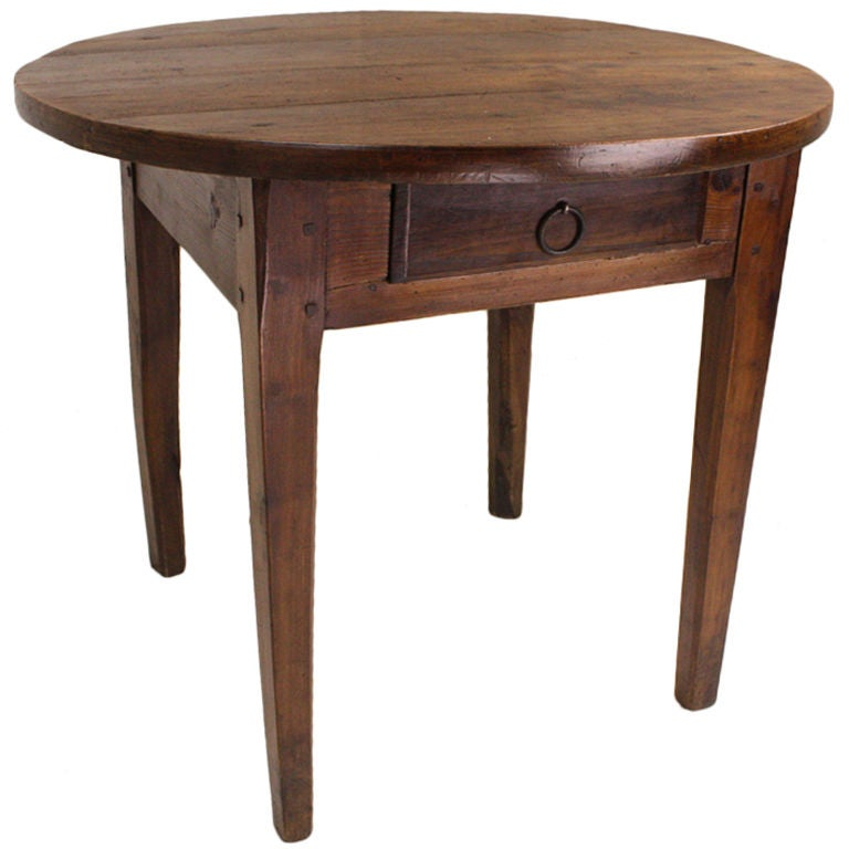 Round chunky cherry french occasional table one drawer at for Occasional table with drawers