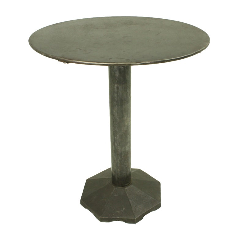 industrial round end table industrial end table octagonal base at 1stdibs 507