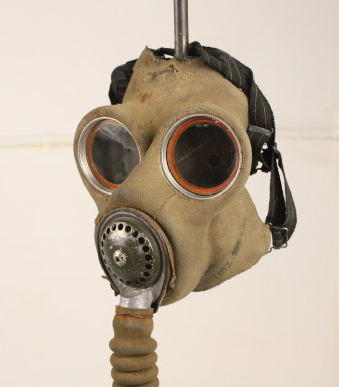 Unique English WW1 Gas Mask Lamp Base At 1stdibs