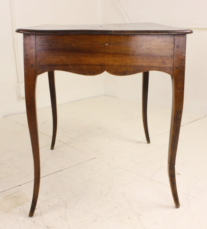 French Louis XV Two-Drawer Walnut Side Table For Sale