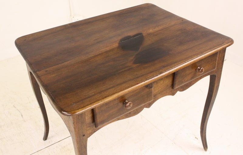 20th Century Louis XV Two-Drawer Walnut Side Table For Sale