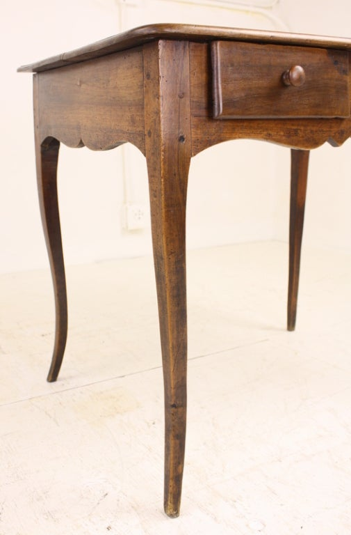 Louis XV Two-Drawer Walnut Side Table For Sale 1