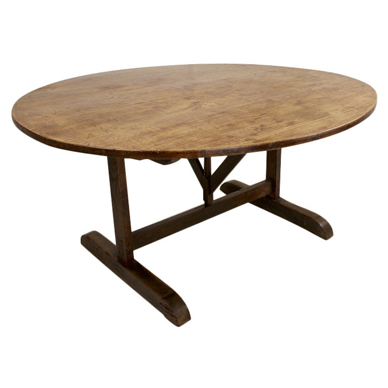 Large oval french antique tilttop fruitwood vendage dining table at 1stdibs - Antique french dining tables ...