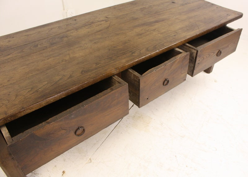 Large three drawer antique french chestnut coffee table for Large coffee table with drawers
