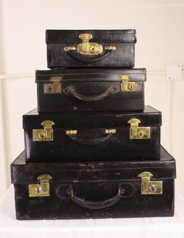 Set Of Four Black Leather English Vintage Cases image 2