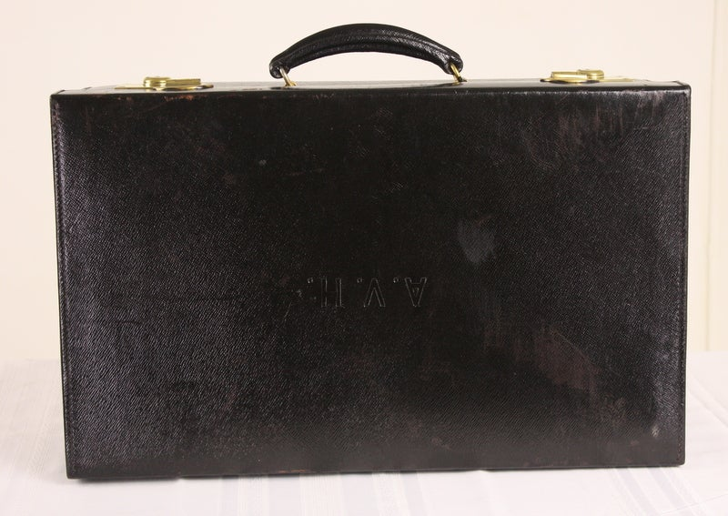 Set Of Four Black Leather English Vintage Cases image 6