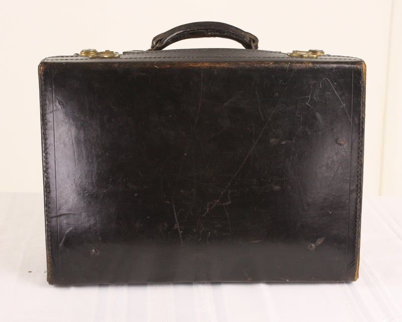 Set Of Four Black Leather English Vintage Cases image 8