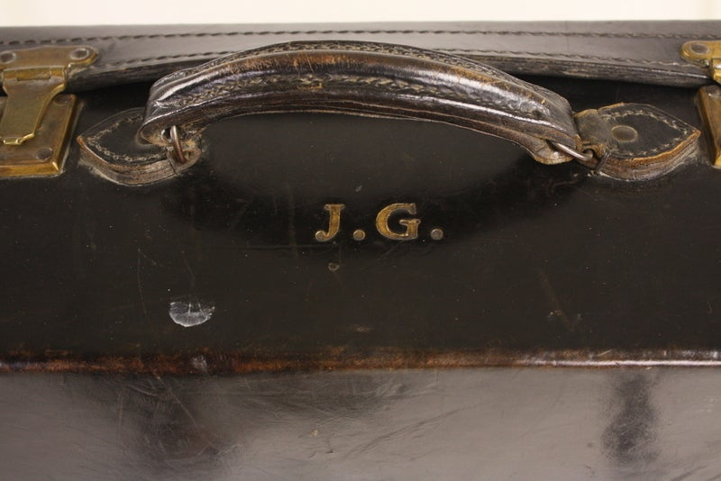 Set Of Four Black Leather English Vintage Cases image 9