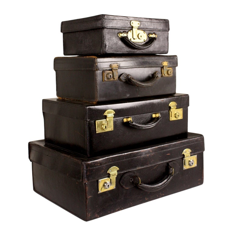 Set Of Four Black Leather English Vintage Cases