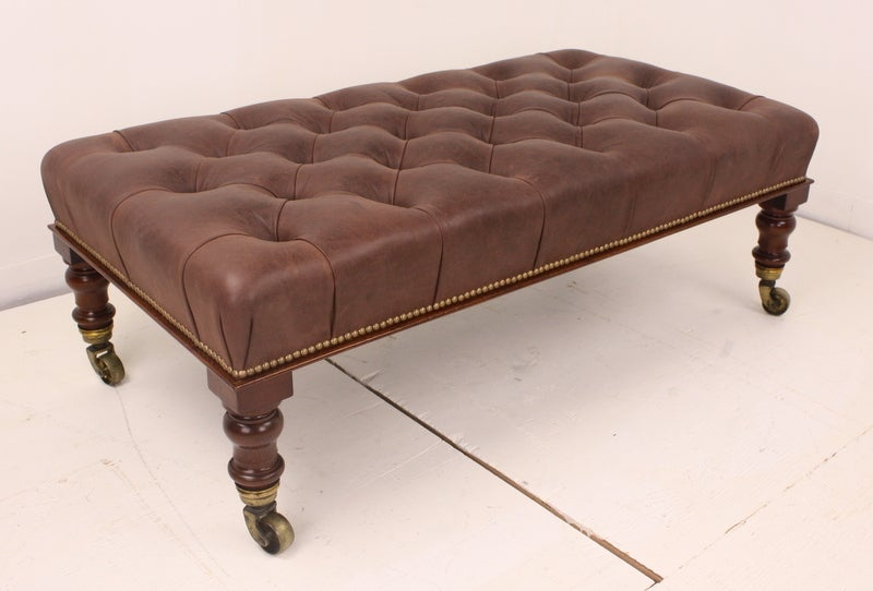 vintage leather footstool large antique mahogany tufted leather covered footstool at 3235