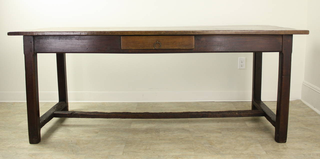 French Antique Cherry Farm Table on a Trestle Base For Sale