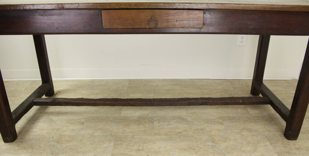 Antique Cherry Farm Table on a Trestle Base For Sale 1
