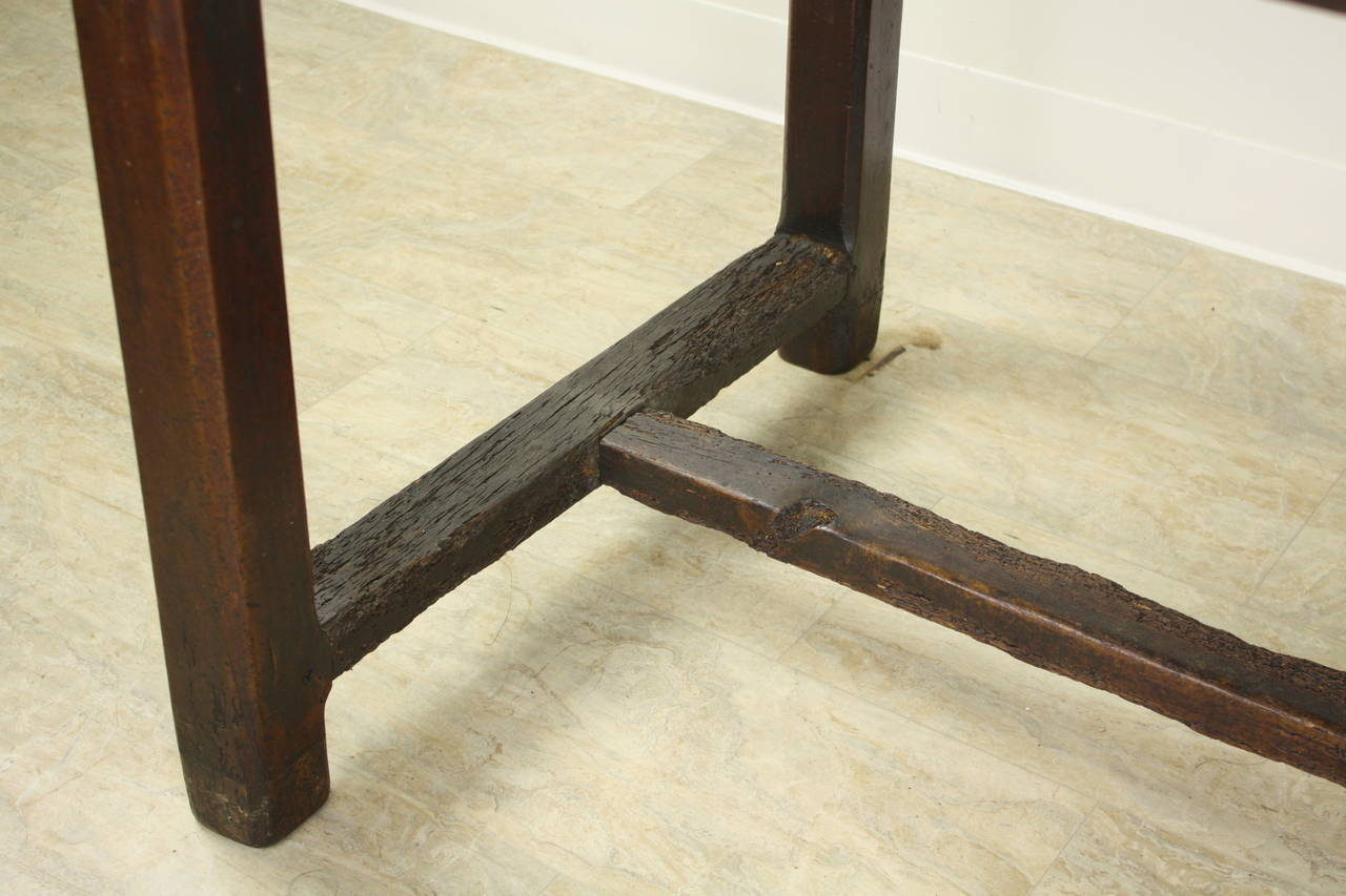 Antique Cherry Farm Table on a Trestle Base For Sale 2