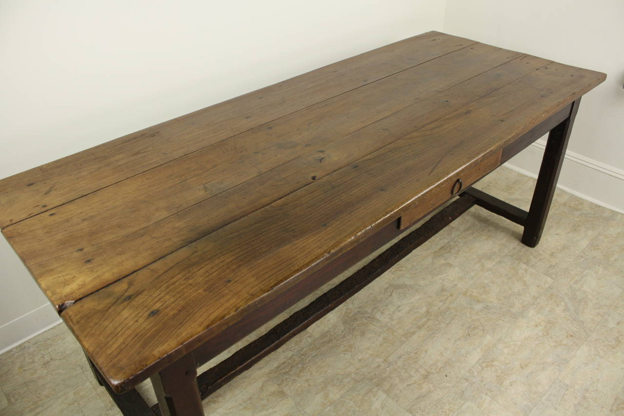 Antique Cherry Farm Table on a Trestle Base In Good Condition For Sale In Port Chester, NY