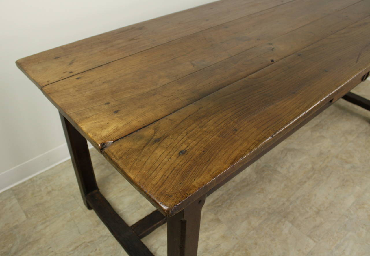 19th Century Antique Cherry Farm Table on a Trestle Base For Sale