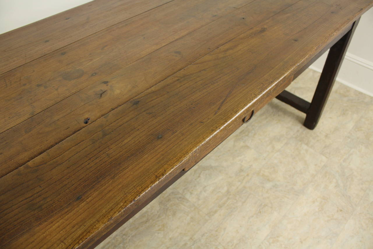 Antique Cherry Farm Table on a Trestle Base For Sale 3