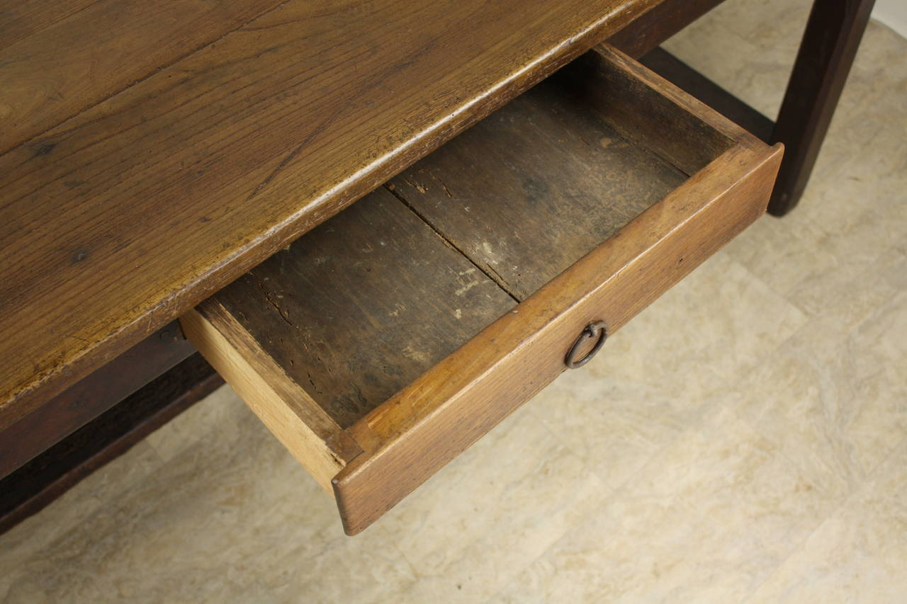 Antique Cherry Farm Table on a Trestle Base For Sale 4