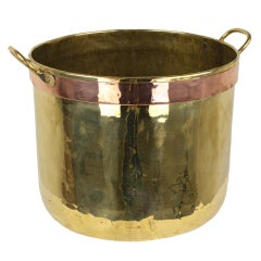 Antique English Brass and Copper Log Bin