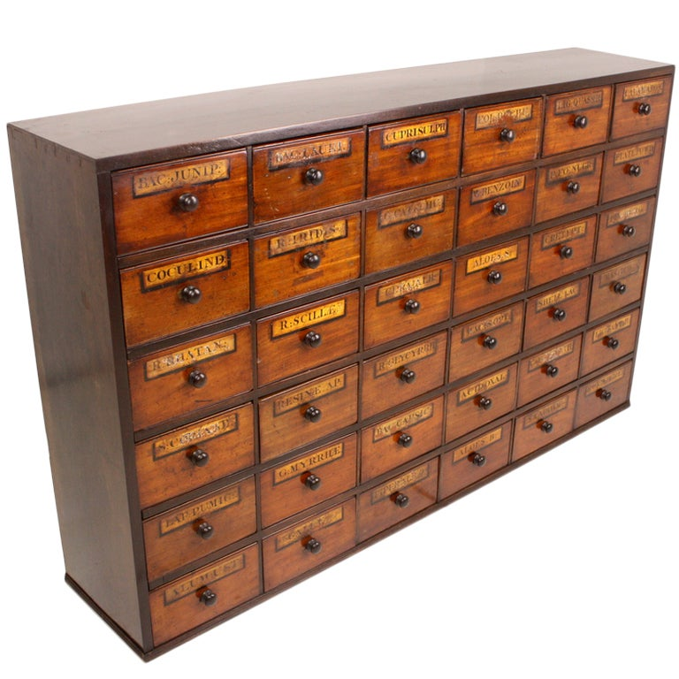 Exceptional antique english apothecary chest at 1stdibs for Apothecary kitchen cabinets