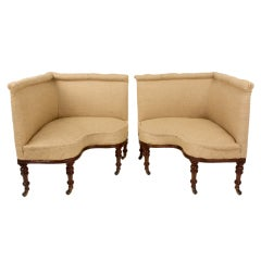 Imposing Pair of Antique English Corner Chairs