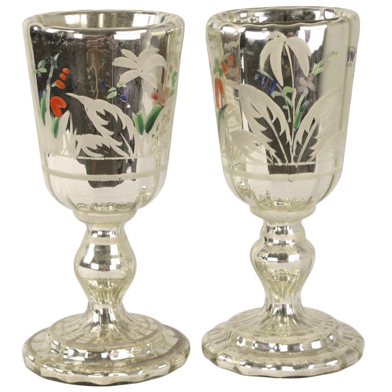 Pair of Mercury Glass Goblets, Antique English