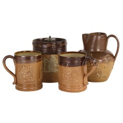 Collection of Four Pieces of Antique English Salt Glazed Pottery