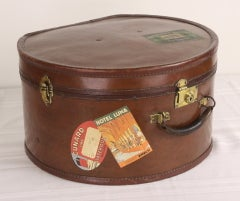 Pair of Antique English Leather Travel Hat Boxes thumbnail 3