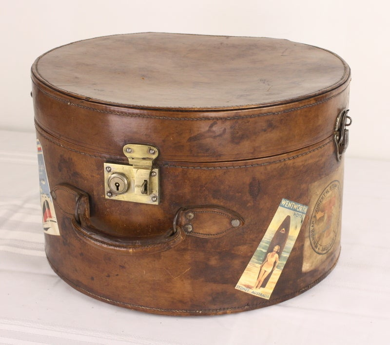 Pair of Antique English Leather Travel Hat Boxes image 5