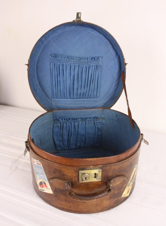 Pair of Antique English Leather Travel Hat Boxes image 6