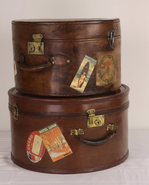 Pair of Antique English Leather Travel Hat Boxes image 2