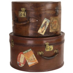 Pair of Antique English Leather Travel Hat Boxes
